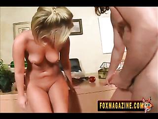 engaging blonde wearing red