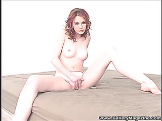 lovely brunette wearing white