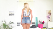 sexy blonde skirt gets