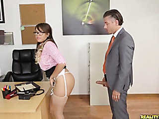 office chick with hairy