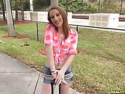 mini skirt, public, teen, thin
