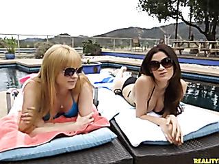 sunbathing best friends caress