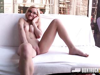 beautiful amateur blonde glasses