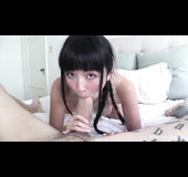 Braided Japanese babe sucking off a big cock in POV