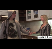 Tight black and white get-up housewife fucks a young dude