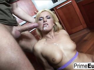 see-through purple lingerie blonde