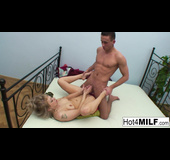 Black and white lingerie blonde MILF fucks a younger stud