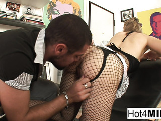 fishnet get-up housewife cooking