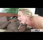 Green stockings and blue eyes blonde MILF gets blacked on a bed