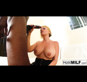 Black businessman gets to fuck a stockings-wearing blonde MILF