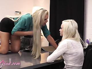 blonde milf black miniskirt