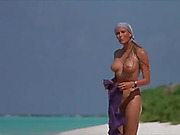 beach, busty, celebrity, sunbathing