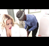 Red lipped blonde in white suit lets black dude lick her ass hole and fuck her cunt on the bed