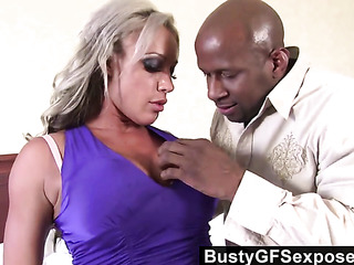 purple get-up tanned blonde