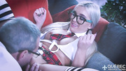 nerdy coed blonde gets