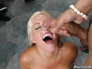slutty blonde babe enjoys