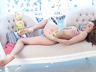 brown-haired babe yellow lingerie