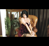 Busty brunette MILF masturbate through the hole in her nylons