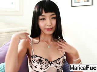 glamorous asian brunette stockings