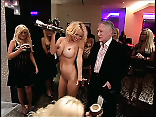 blonde naked woman gives