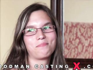 slim amateur brunette glasses