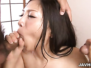 japanese threesome blowjob