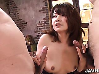 small tits double blowjob