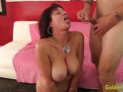 american, big tits, blowjob, brunette, granny, mature