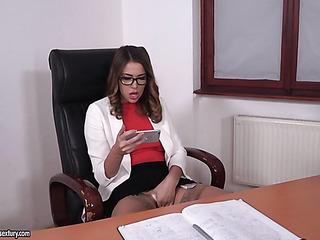 brunette with glasses masturbating