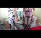 Lesbian big tits lingerie striptease