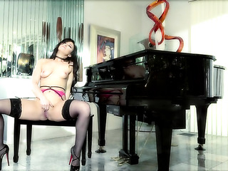 stockings-clad piano player fingering