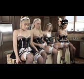 Fishnets-clad maids getting their holes destroyed on camera