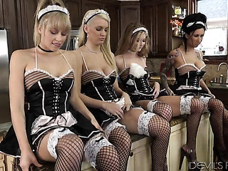 fishnets-clad maids getting their