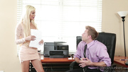stunning blonde secretary gives