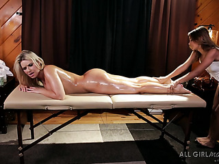 braided blonde massaging busty
