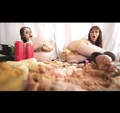Food fetish lesbian fucking with a redhead
