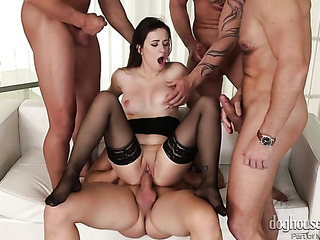 black stockings brunette gang-banged