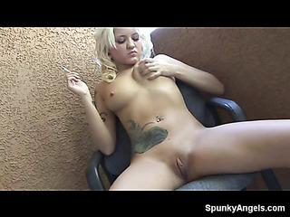 young blonde smoking fetish