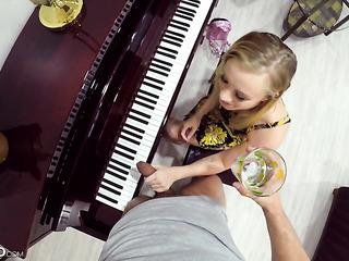 sensual teen seduces piano