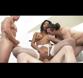 Black squirting girl's first time foursome