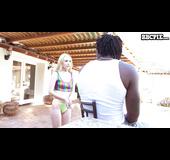 Tight blonde fullfils her fantasy of gtting pool guy's bbc