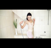 MILF doesn't bother undressing before a shower