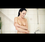 Shy czech showering brunette firs time filmed