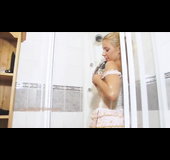Blonde cutie told to shower herself in lingerie