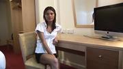 brunette white blouse does