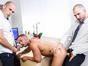 butt, gay, giving head, office