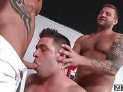 football, gay, sloppy, threesome
