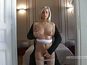 blonde, bondage, piercing, stud