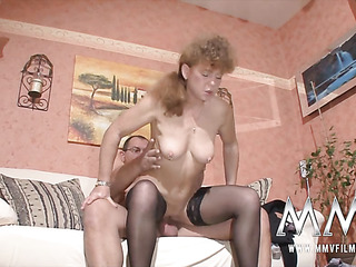 ponytailed red housewife nylons