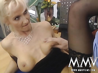 blonde cougar black stockings